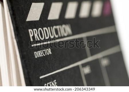 Movie Clapper Board. Macro  - stock photo