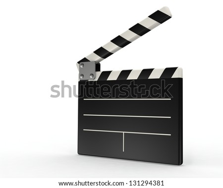 movie clapper board on white background - stock photo