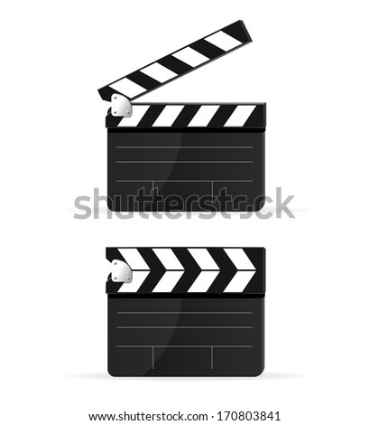 Movie clapper board set isolated - stock photo