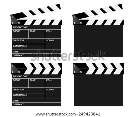 Movie clapper boards. Open, closed and blank.  - stock photo