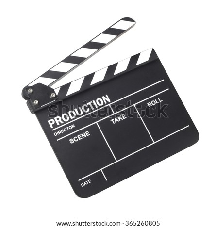 Movie clapper isolated on white background - stock photo