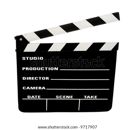 movie clapperboard clipping path included - stock photo