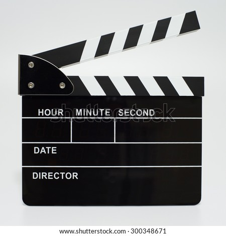 Movie clapperboard isolated on a white background - stock photo