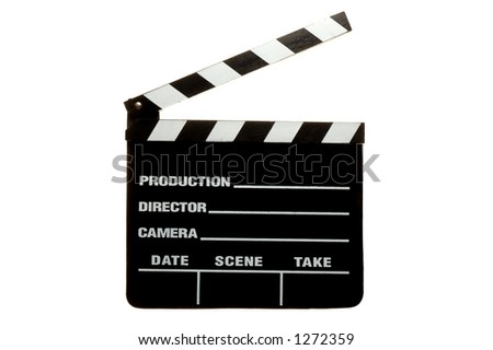 Movie Clapperboard over a white background - stock photo