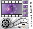 Movie countdown and reel, raster - stock