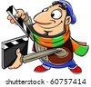 Movie director holds a clapboard. - stock photo