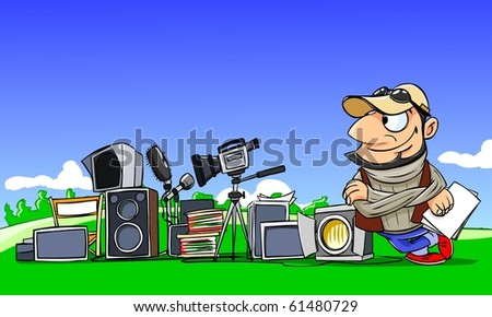 movie director with equipment - stock photo