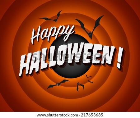 Movie ending screen - Happy Halloween! - stock photo