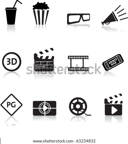 movie, film and cinema, typical black silhouette icon buttons - stock photo