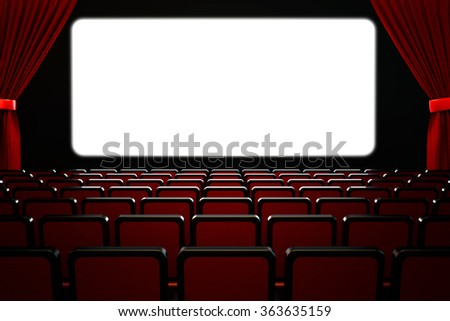 Movie film premiere and show performance concept, theatre hall interior, dark empty cinema auditorium with blank white wide screen, rows of seats and red velvet curtains - stock photo