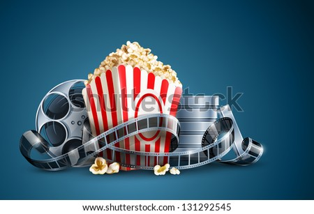 movie film reel and popcorn. Rasterized illustration. Vector version also available in my gallery. - stock photo