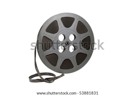 movie film reel isolated over white with clipping path at this size - stock photo