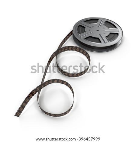 Movie film reel on white - stock photo
