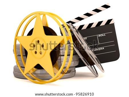 Movie film reels and cinema clapper. 3D render - stock photo