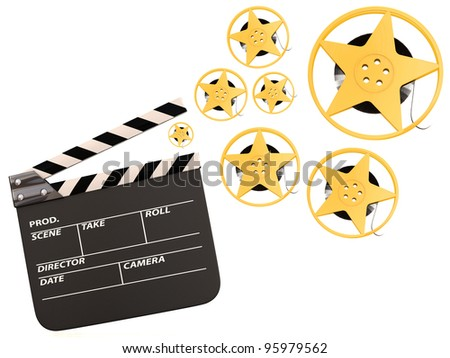 Movie film reels and cinema clapper. 3D render - stock photo
