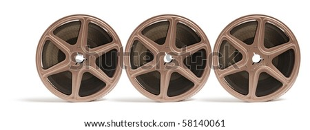 Movie Film Reels on Isolated White Background - stock photo