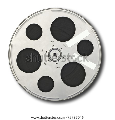 Movie film spool; isolated on white ground; two adhesive labels on spool, suitable for overwriting. - stock photo