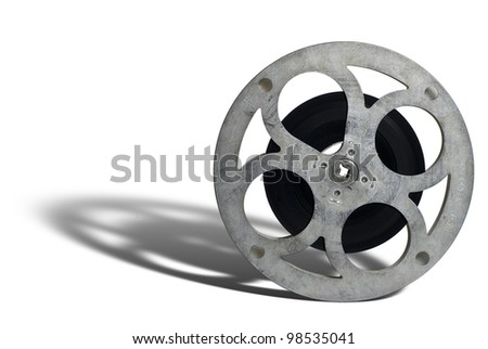 Movie film spool; on white ground with perspective shadow