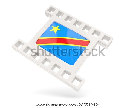Movie icon with flag of democratic republic of the congo isolated on white - stock photo