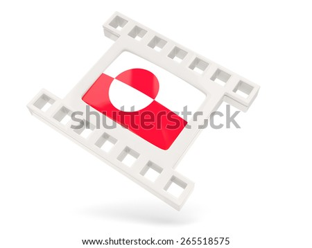 Movie icon with flag of greenland isolated on white