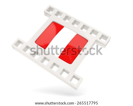 Movie icon with flag of peru isolated on white