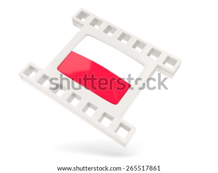 Movie icon with flag of poland isolated on white