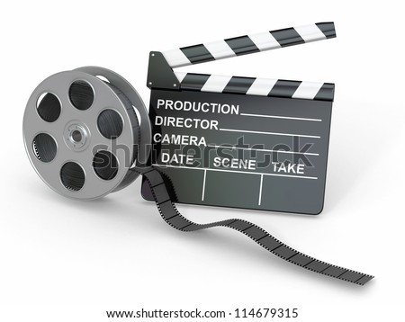 Movie industry. Clapperboard and film reel. 3d