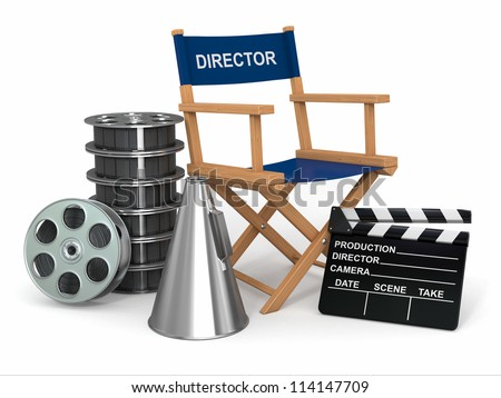 Movie industry. Producer chair, ���±lapperboard and film reels. 3d - stock photo