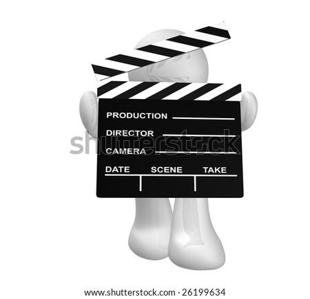 Movie maker icon figure holding a scene clap board - stock photo