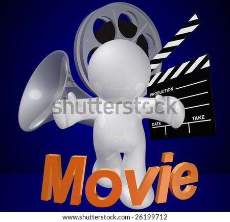 Movie maker or film director objects and icon figure - stock photo