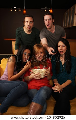 Movie Night with Friends - stock photo