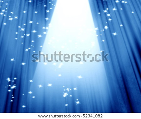 Movie or theater curtain on a blue background - stock photo