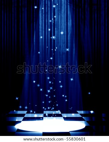 Movie or theater curtain with a bright spotlight - stock photo