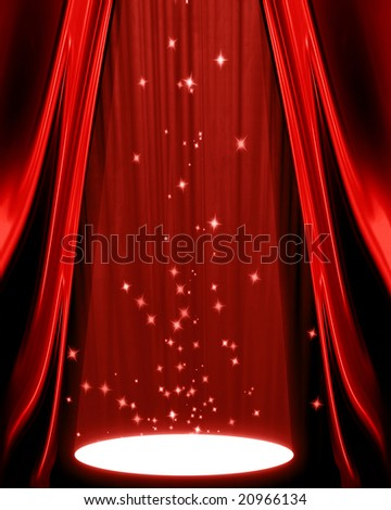 movie or theater curtain with a spotlight on it - stock photo