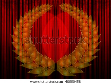 Movie or theater curtain with a wreath - stock photo