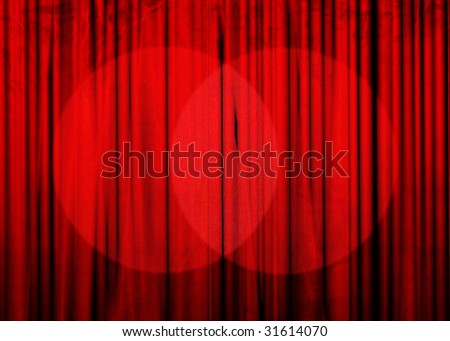 Movie or theater curtain with double spotlight