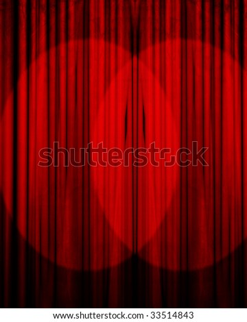 Movie or theater curtain with double spotlight - stock photo