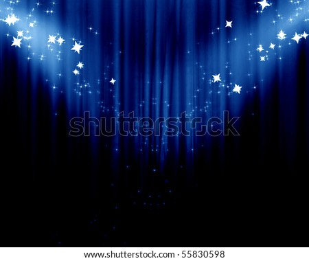 Movie or theater curtain with some glitters on it - stock photo
