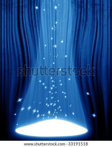 Movie or theater curtain with spotlight on it