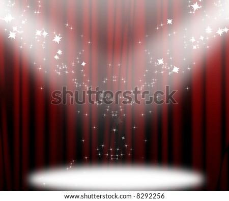 Movie or theatre curtain - stock photo