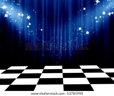 Movie or theatre curtain with a spotlight and glitters - stock photo