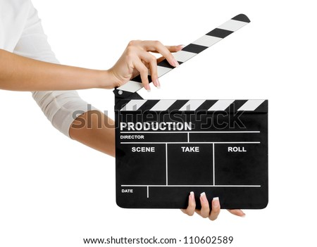 movie production clapper board - stock photo