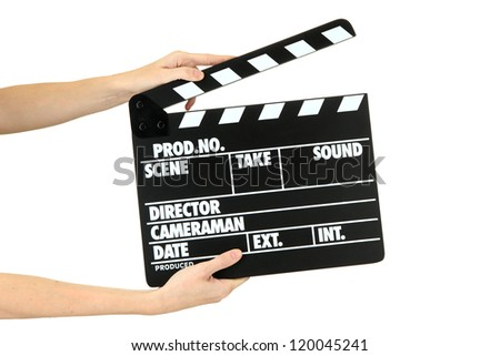Movie production clapper board isolated on white - stock photo