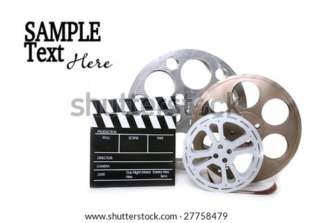 Movie Production Film Canisters With Directors Clapboard on White Background and Copy Space - stock photo