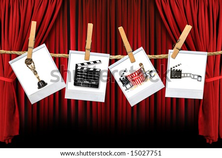 Movie Related Items on instant photo Film Hanging Against Theater Stage Draped Background - stock photo