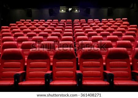 movie theater empty auditorium with seats - stock photo