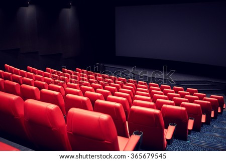 movie theater or cinema empty auditorium - stock photo