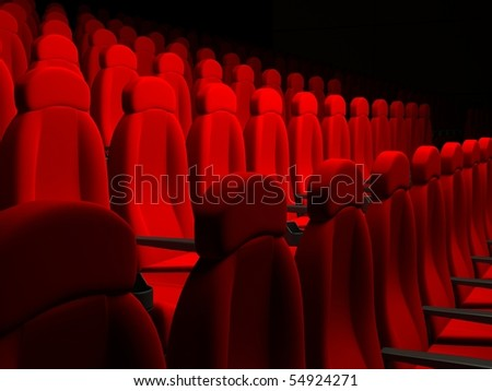 Movie Theater Seats. 3d rendered image - stock photo