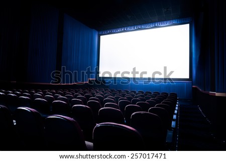 Movie Theater with blank screen / High contrast image - stock photo