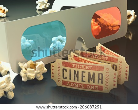 Movie ticket and 3D glasses with popcorn scattered around. - stock photo